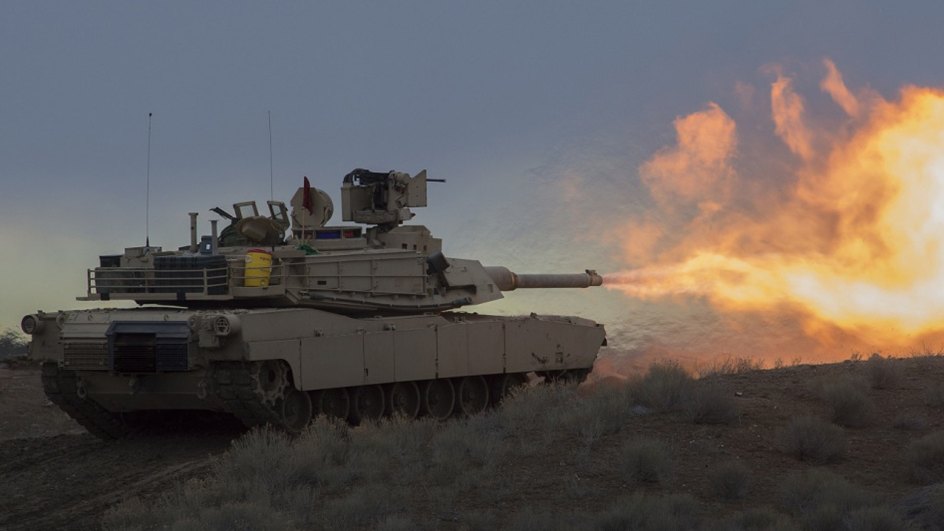 M1A2 Abrams Tanks from A Company, 2-116th Cavalry Brigade Combat Team (CBCT), Idaho Army National Guard run through field exercises on Orchard Combat Training Center