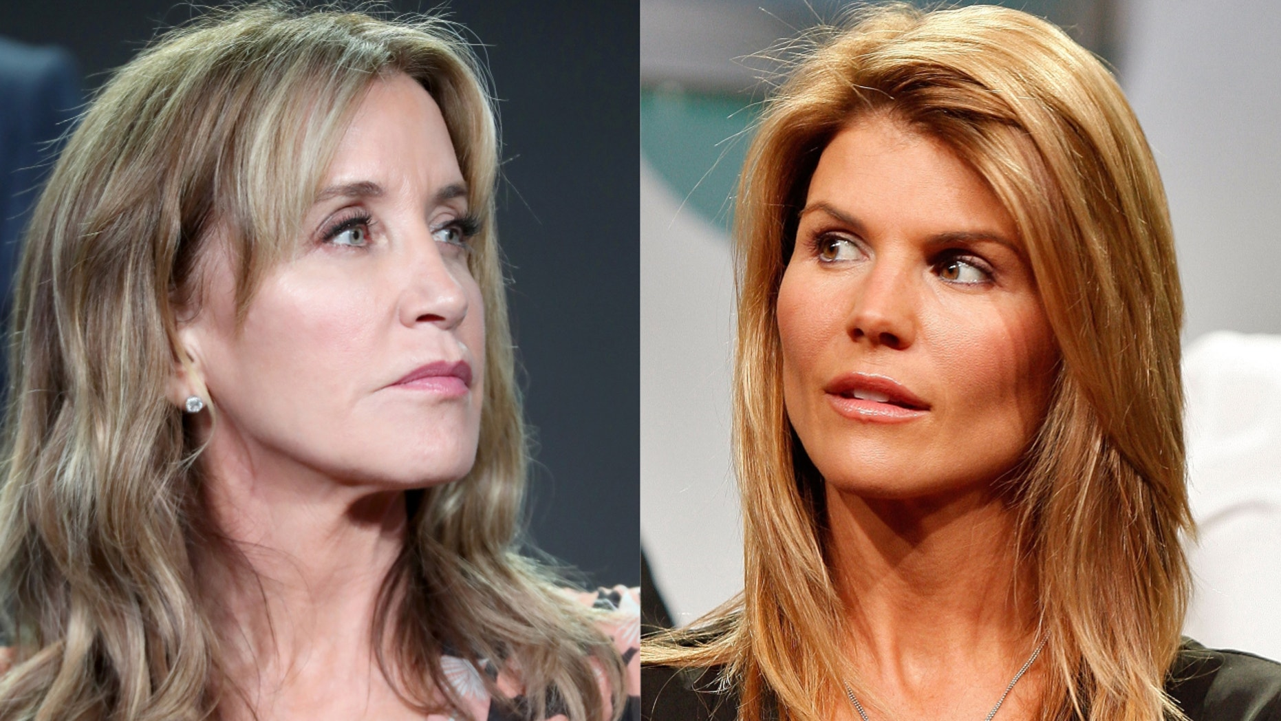 Felicity Huffman, left, and Lori Loughlin, right, were among those charged in an alleged college admissions bribery scam.