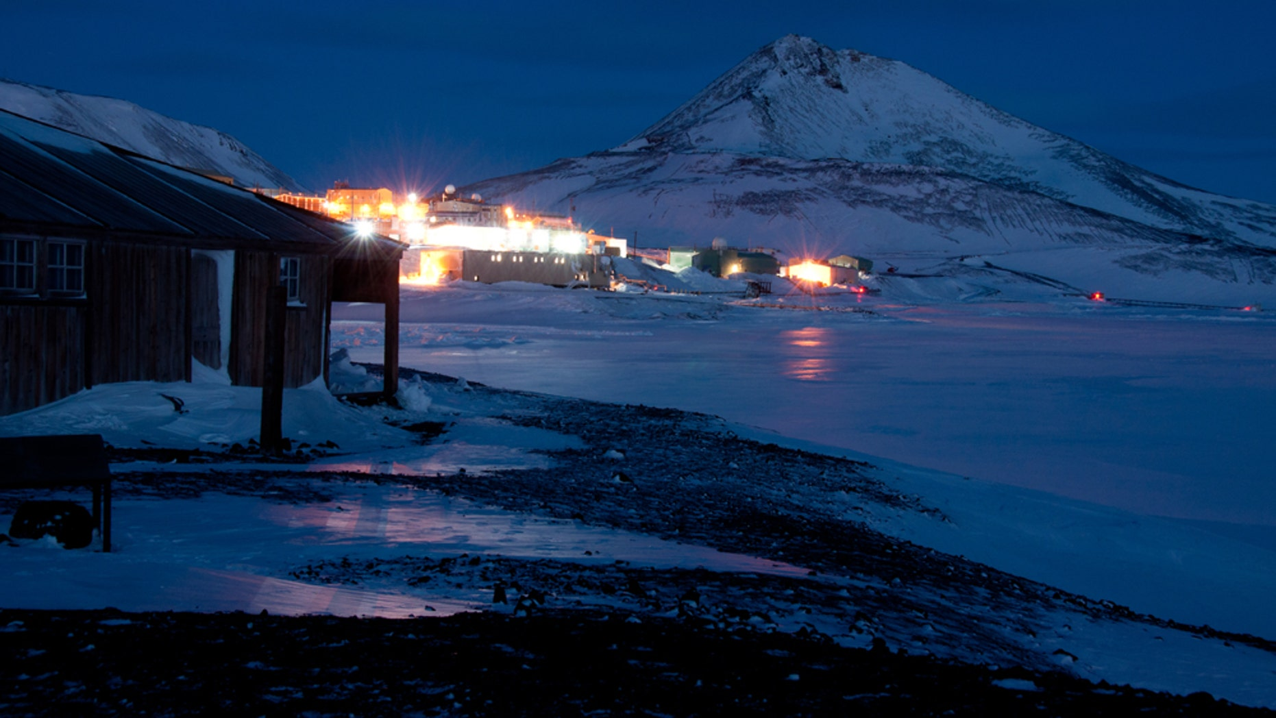McMurdo Station in Antarctica seen from Hut Point Peninsula.
