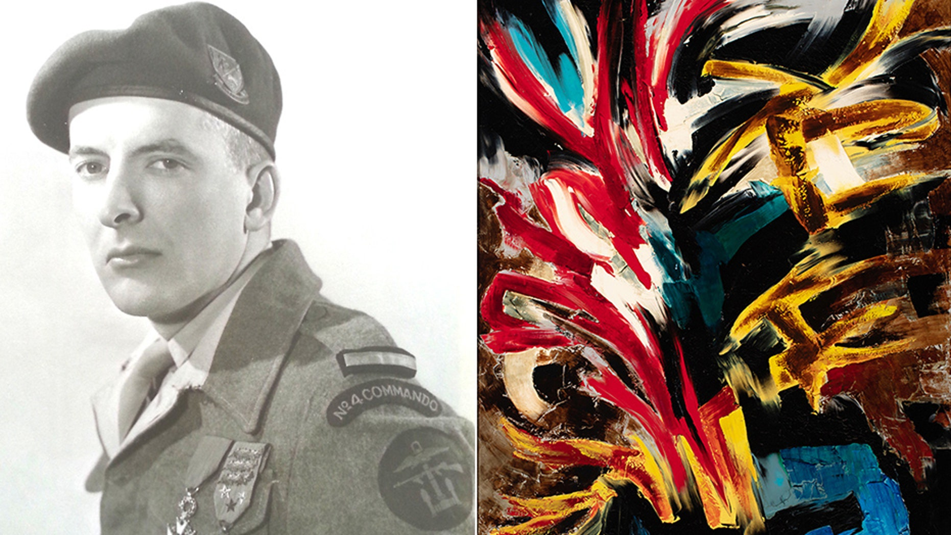 """Guy de Montlaur, a French World War II soldier, has a series of his paintings now on display at the National World War II Museum in New Orleans. At right is his 1957 painting """"Fire"""", which the Museum says is titled as a """"reference to his wartime experiences"""". (National World War II Museum/Courtesy Montlaur Family)"""