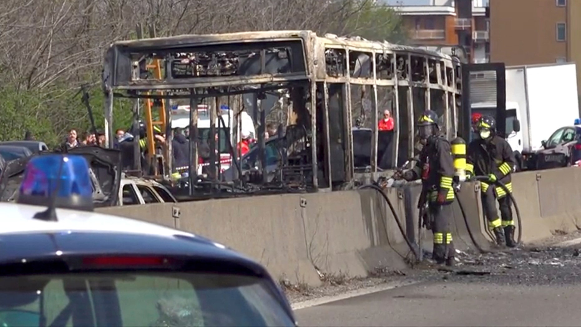 Driver arrested in Milan after allegedly setting school bus on fire