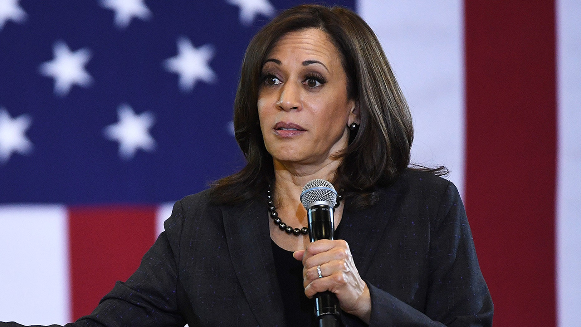 Sen. Kamala Harris (D-Calif.) speaks during a town hall meeting at Canyon Springs High School on March 1, 2019 in North Las Vegas, Nevada. Harris is campaigning for the 2020 Democratic nomination for president.
