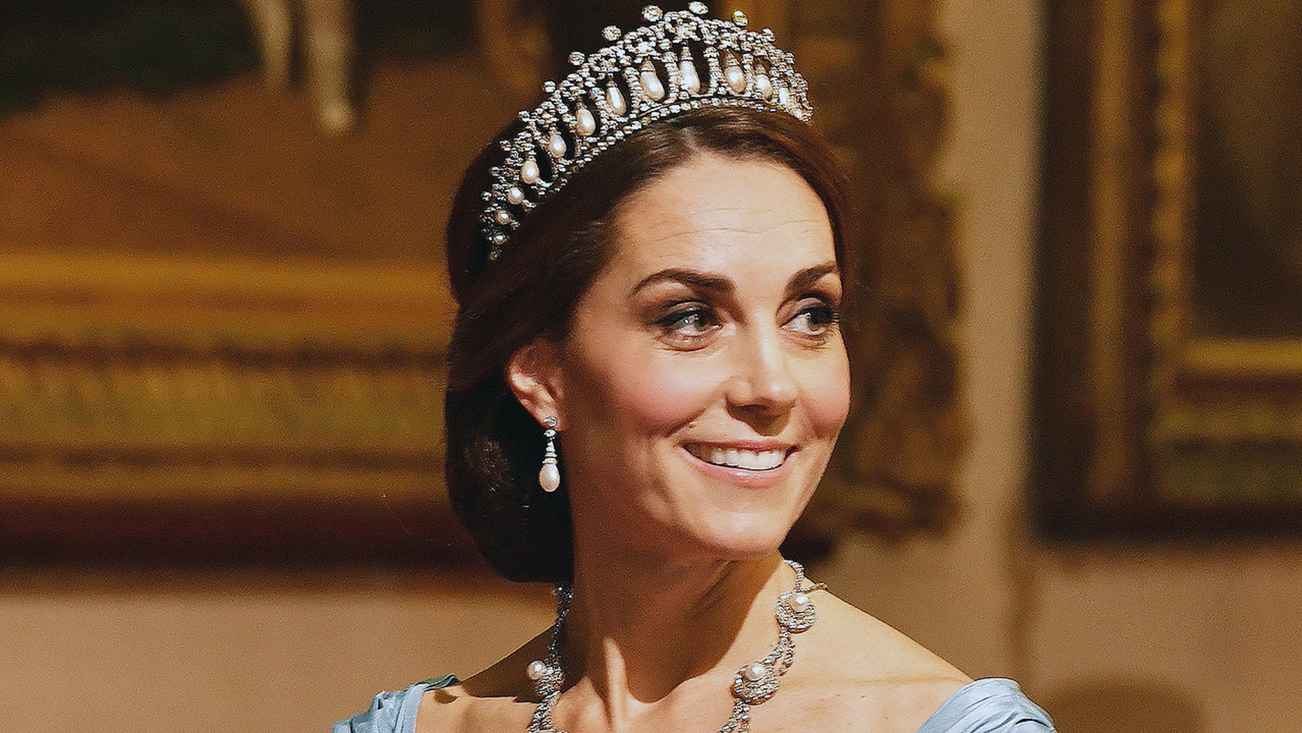 Kate Middleton at a state banquet in honor of King Willem-Alexander and Queen Maxima of the Netherlands in October 2018.