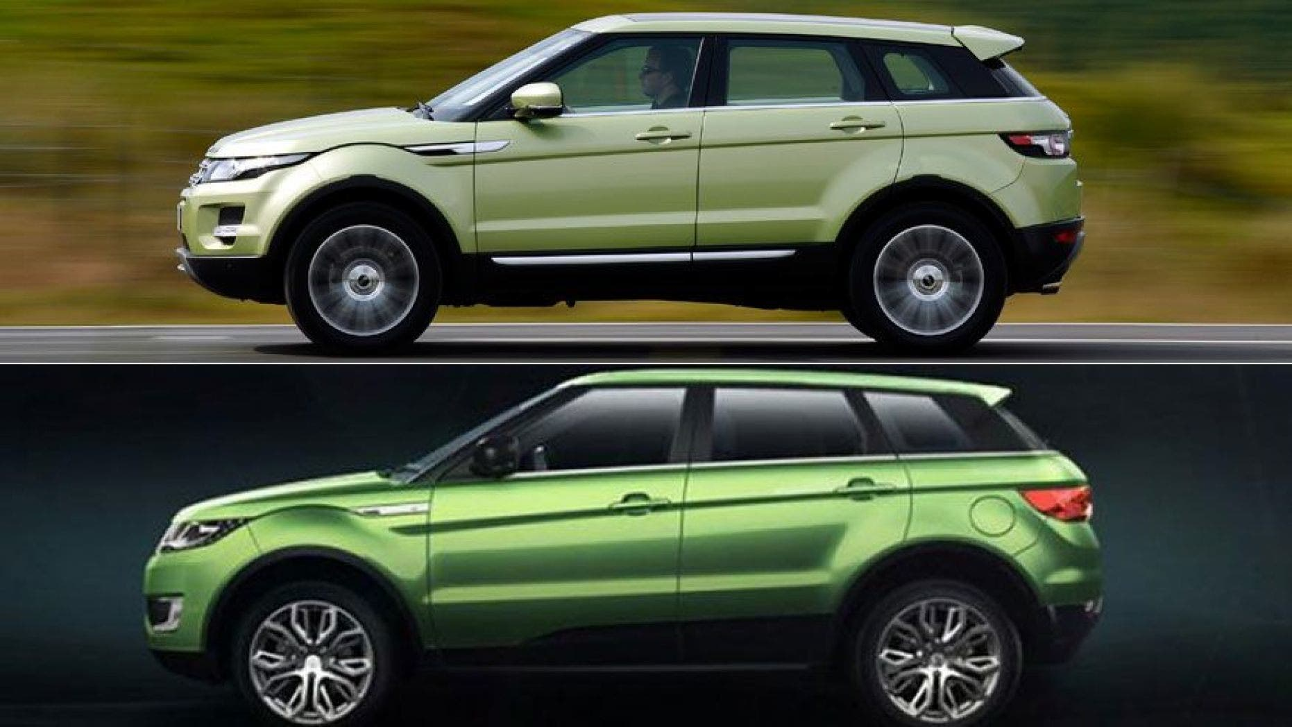 The justice dynamic that a Landwind X7 (bottom) copied 5 singular elements from a Range Rover Evoque (top).