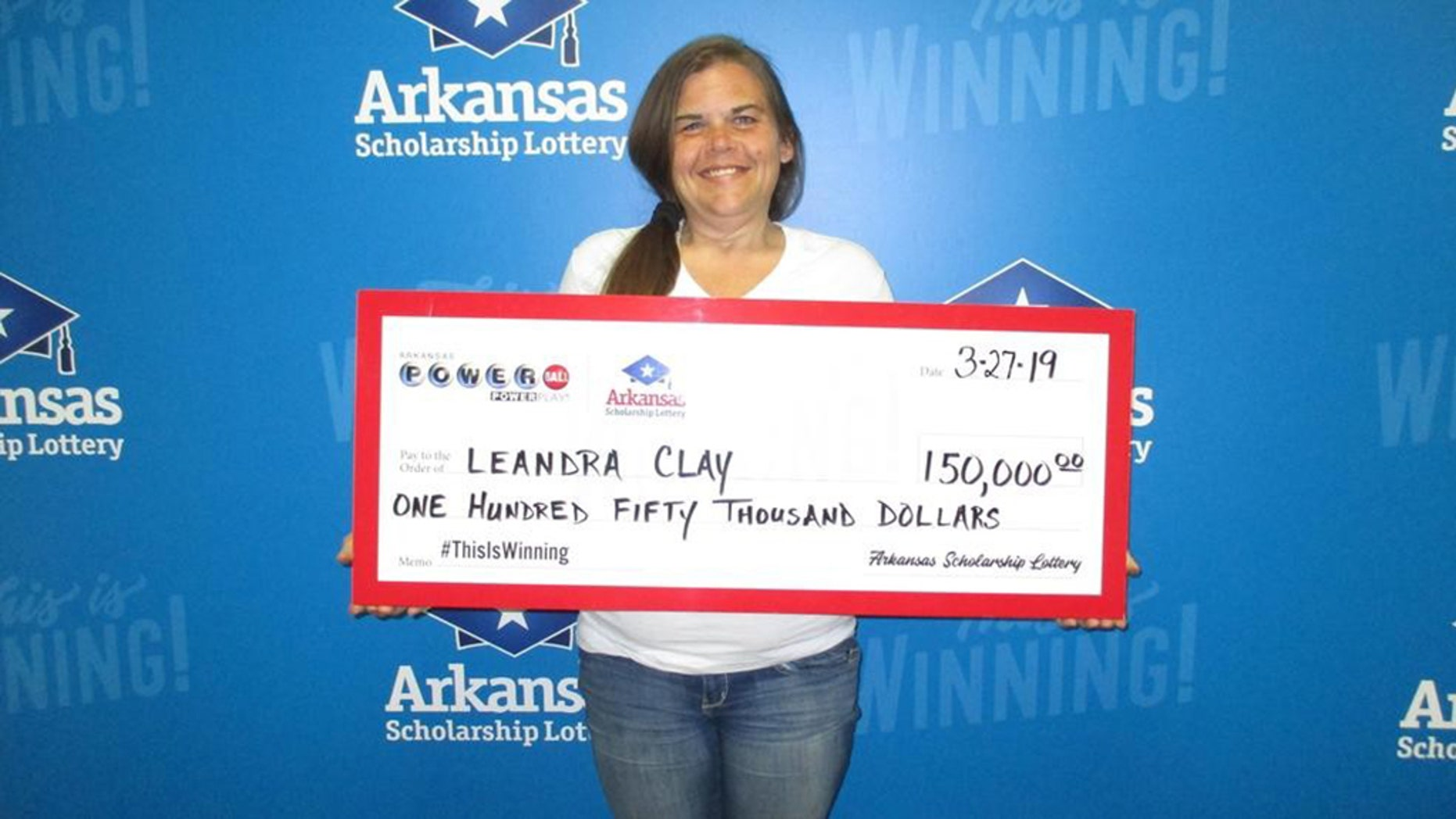 "LeAndra Clay, of West Helena, AR, won the $150,000 Powerball ticket last week, just a month after she lost her home to a fire. She credits her faith in God for the timing: ""He's an on-time God."""