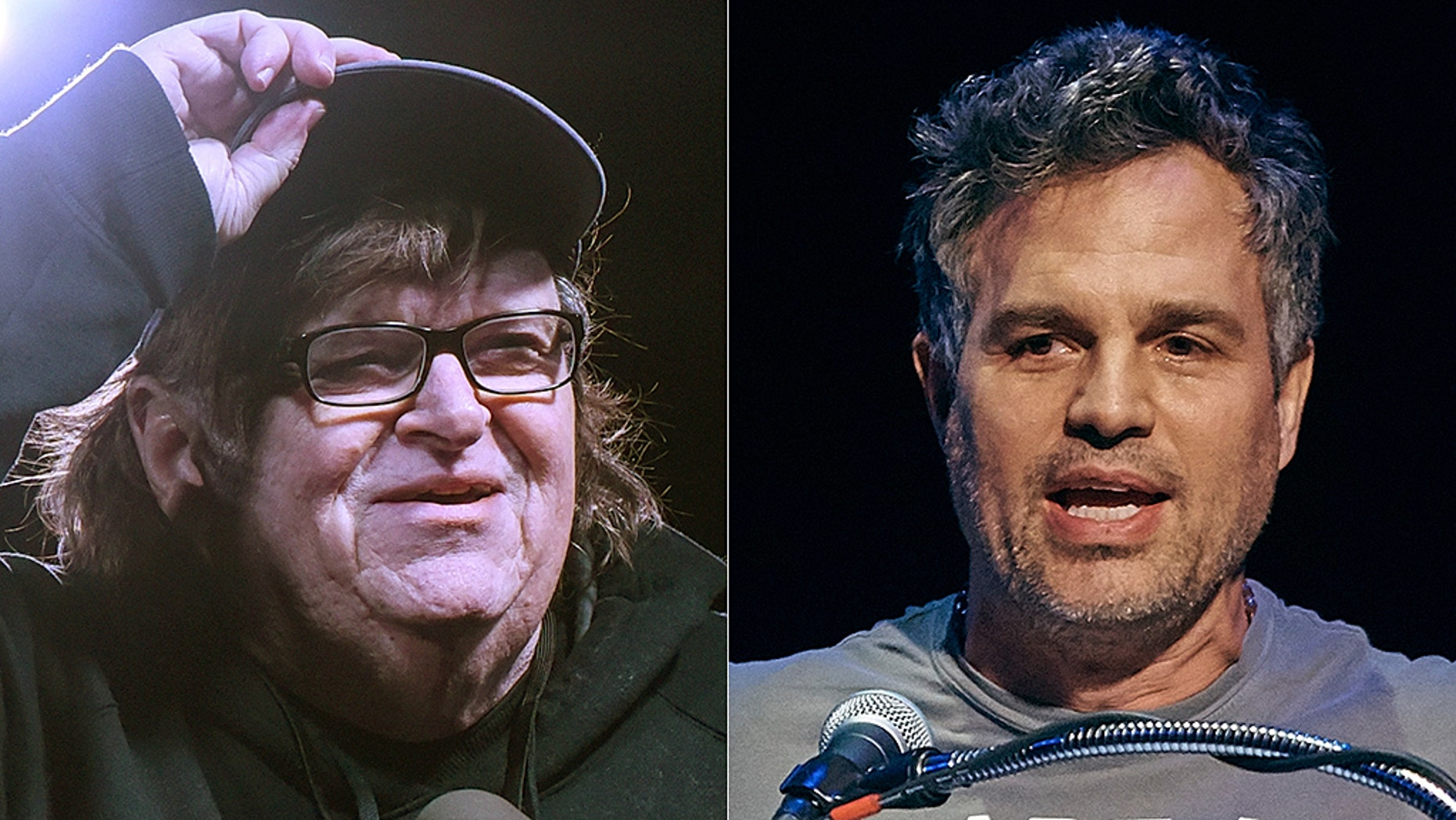 Filmmaker Michael Moore and actor Mark Ruffalo are hopeful that Democrats will win big in 2020.