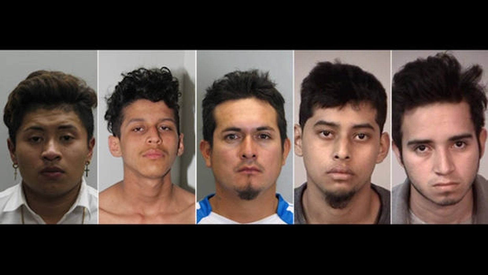 Mugshots for MS-13 gang members charged with murder this week: Jose Hernandez-Garcia, Christian Martinez-Ramirez, Jose Ordonez-Zometa, Kevin Rodriquez-Flores, Jonathan Castillo-Rivera.