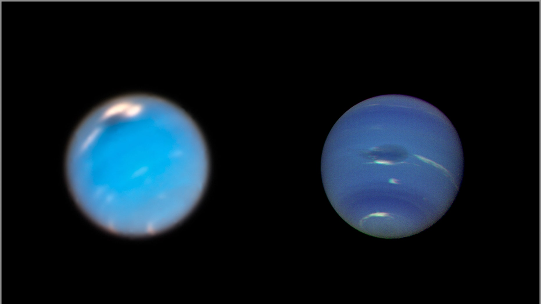 This composite image shows images of storms on Neptune from the Hubble Space Telescope (left) and the Voyager 2 spacecraft (right). The image of Neptune taken by the Hubble Wide Field 3 camera, taken in September and November 2018, shows a new dark storm (top center). In Voyager's image, a storm known as Great Dark Spot (GDS) appears in the center. It is approximately 13,000 km over 6,600 km - as wide as the Earth. White clouds observed hovering near storms have a higher altitude than dark material. (Credit: NASA / ESA / GSFC / JPL)