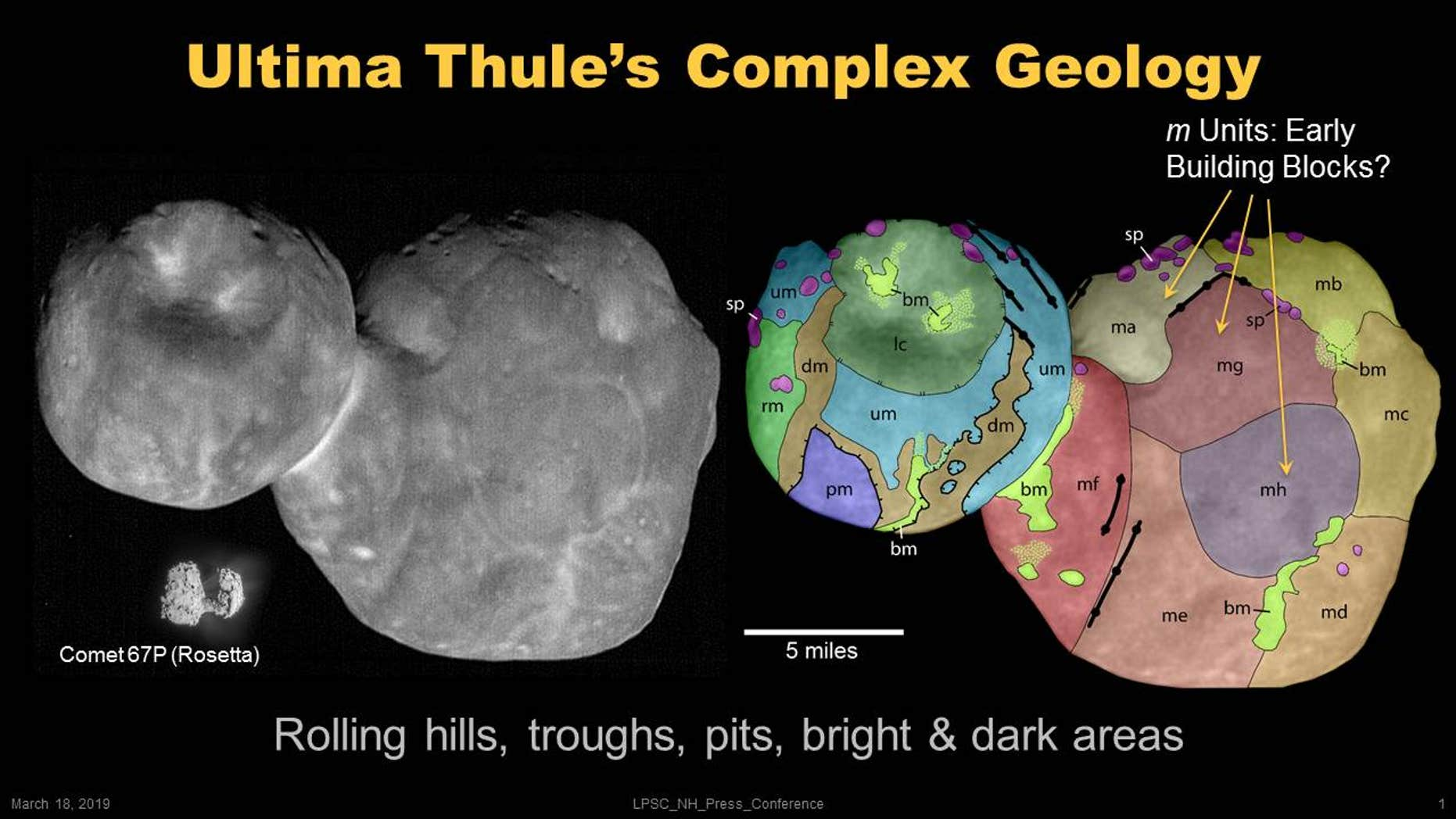 A new map produced by the New Horizons team appears to show the many different lumps of rock that converged to form the object nicknamed Ultima Thule. (Credit: NASA/Johns Hopkins University Applied Physics Laboratory/Southwest Research Institute/National Optical Astronomy Observatory)