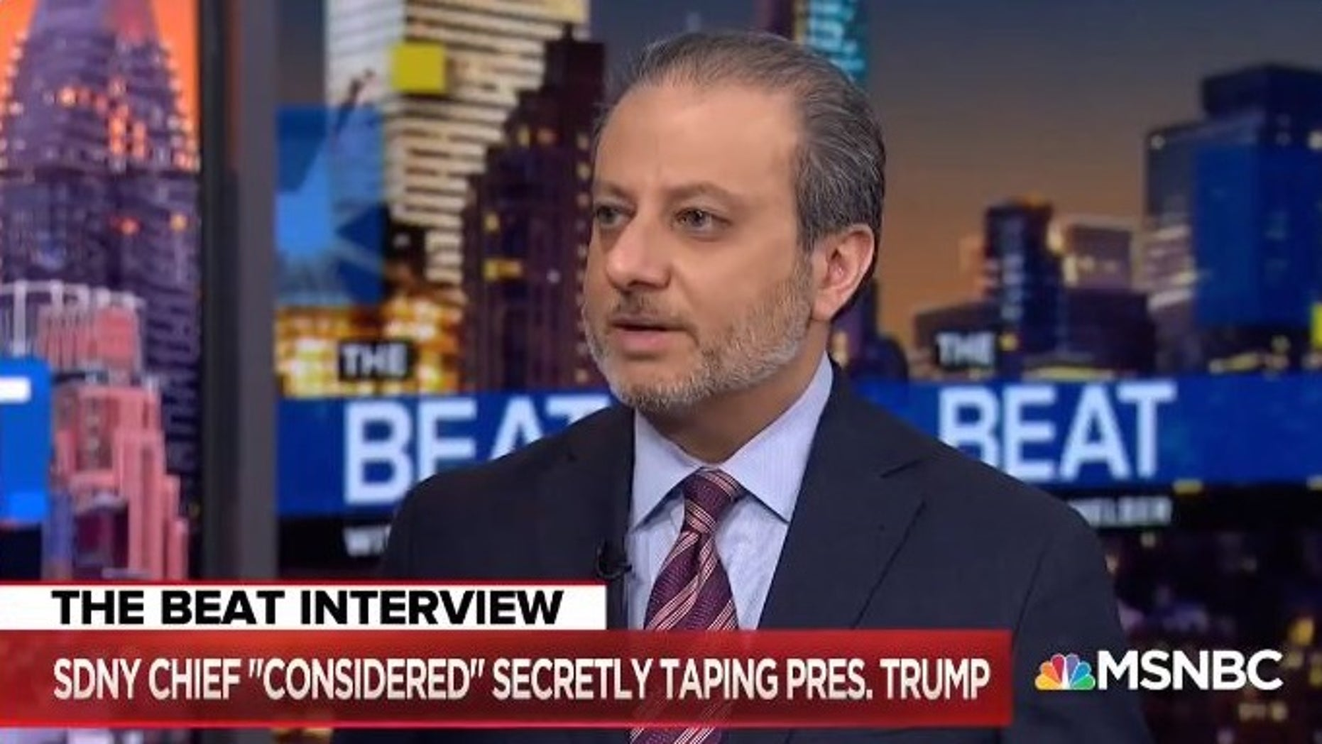 "Former U.S. Attorney Preet Bharara appeared on ""The Beat with Ari Melber"" on MSNBC, saying he considered wearing a wire to tape the president."