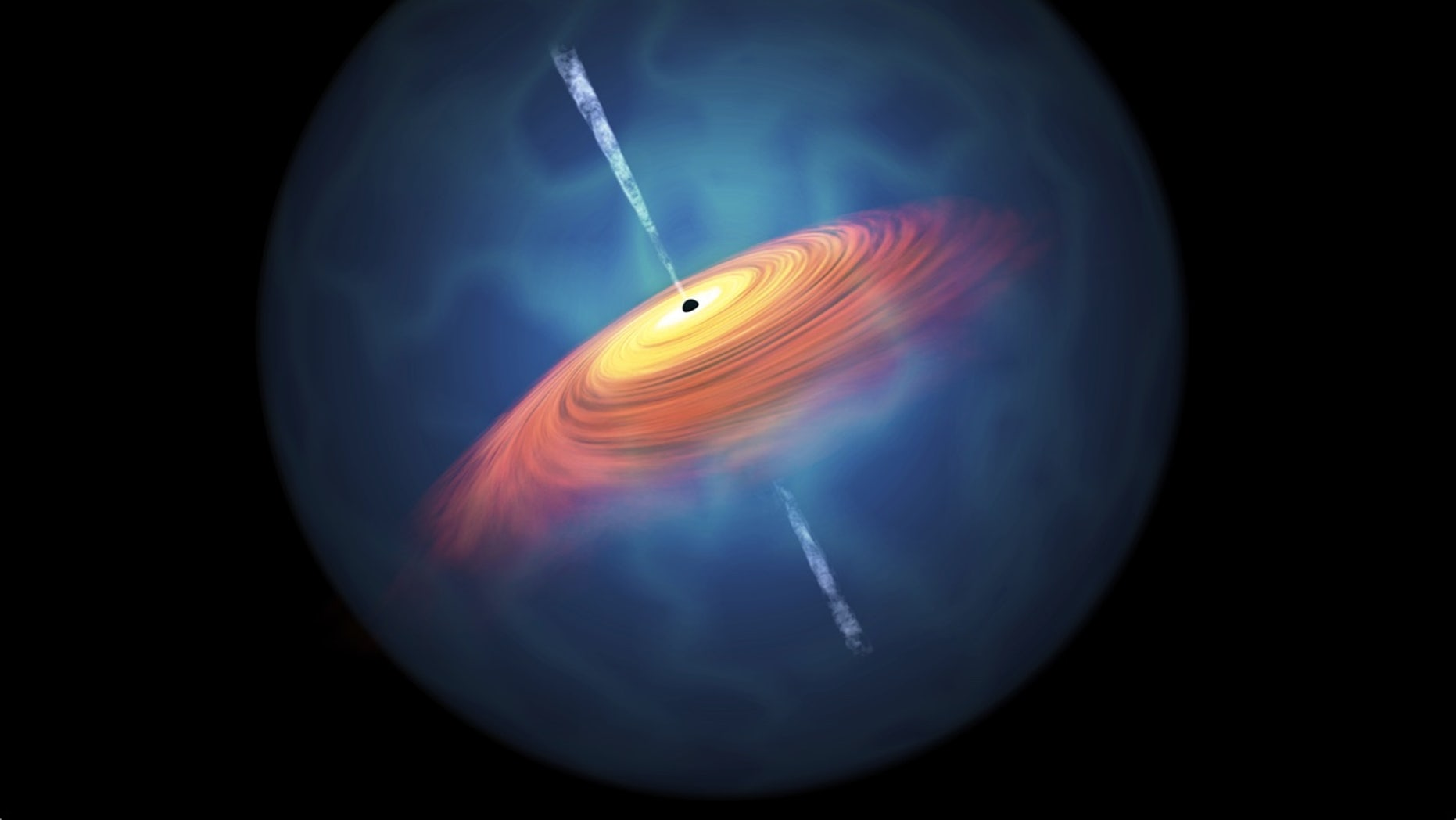 "An artist's conception of a quasar surrounding a supermassive black hole, which has a mass many times that of Earth's sun. Although nothing that falls into the black hole can escape, its massive gravity accelerates an ""accretion disk"" of luminous particles and gases around it."