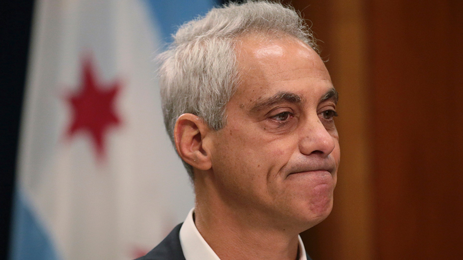 Chicago Mayor Rahm Emanuel announced Tuesday, Sept. 4, 2018, he would not seek a third term in office at a press conference on the fifth floor at City Hall in Chicago. (Stacey Wescott/Chicago Tribune via AP)