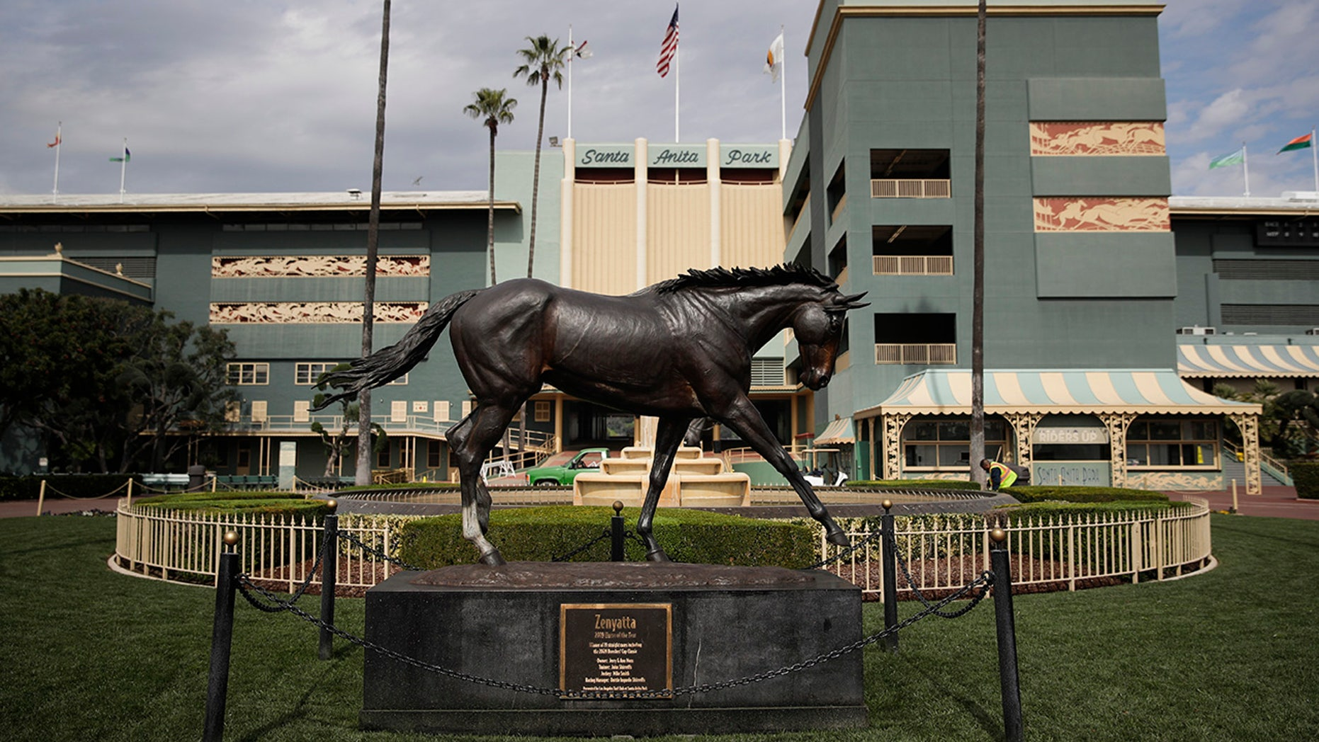 A statue of Zenyatta stands in the paddock gardens area at Santa Anita Park on March 5, 2019, in Arcadia, Calif. (Associated Press)