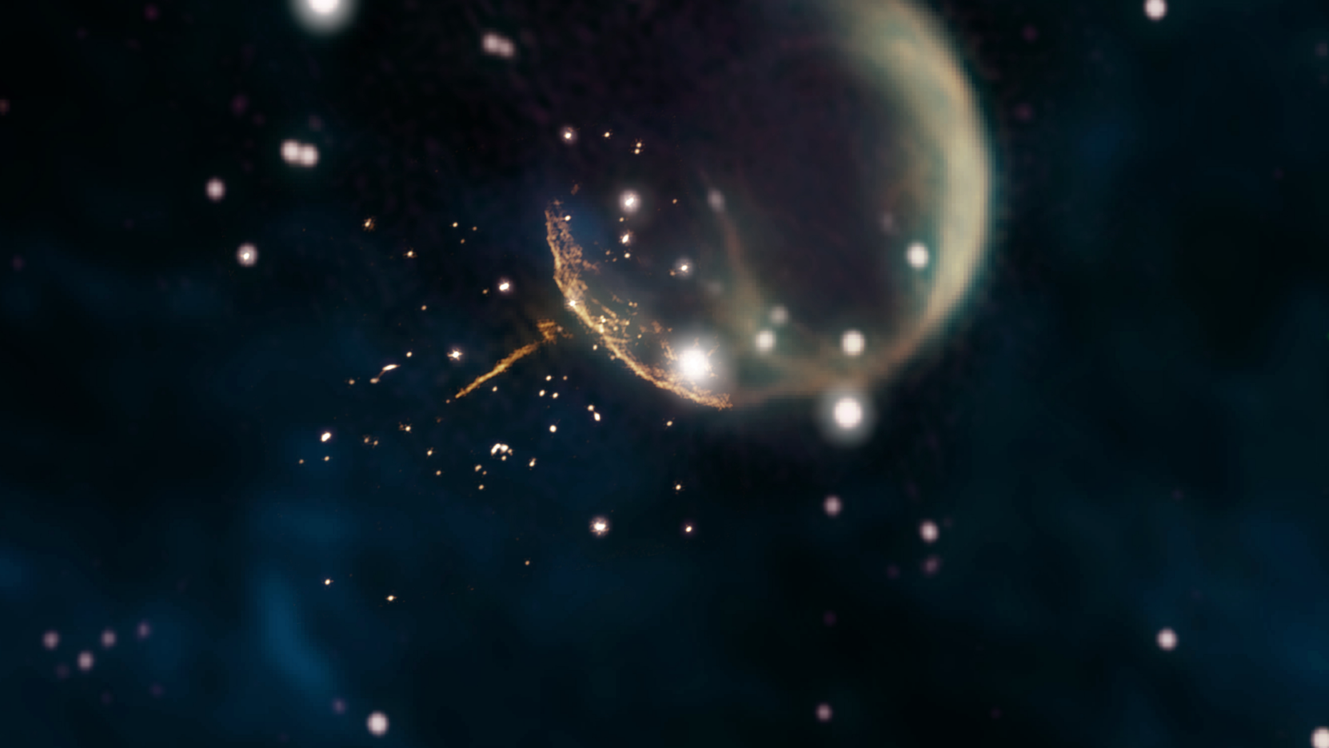 A pulsar shoots away from the supernova remnant CTB 1 in this image created with composite data from the Very Large Array and the Dominion Radio Astrophysical Observatory's Canadian Galactic Plane Survey.