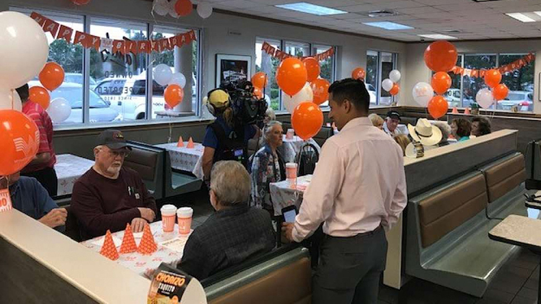90-year-old Bobie Miller was in for the surprise of a lifetime when he walked into his local Spring, Texas, Whataburger.
