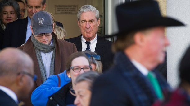 Special Counsel Robert Mueller exits St. John's Episcopal Church after attending services, across from the White House, in Washington, Sunday, March 24, 2019.  (AP Photo/Cliff Owen)