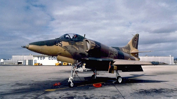"""A U.S. Navy Douglas A-4E Skyhawk (BuNo 151095) from the Fighter Weapons School (""""Top Gun"""") at Naval Air Station Miramar, California (USA) in the late 1980s or early 1990s. (photo U.S. Navy)"""