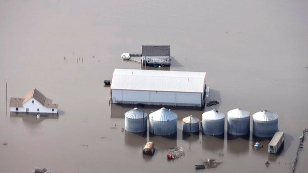 Flooding along the Missouri River in rural Iowa north of Omaha, Neb., on March 18, 2019.
