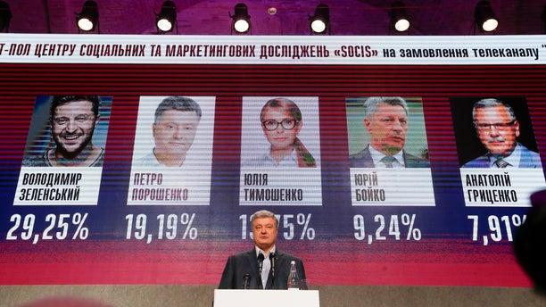 Ukrainian President Petro Poroshenko speaking at his headquarters Sunday night. (AP Photo/Efrem Lukatsky)