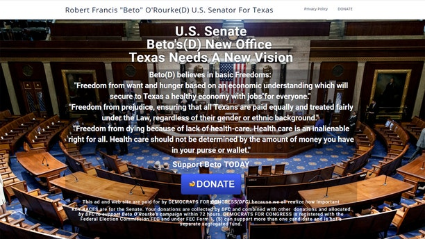 Federal prosecutors say John Dupont created this fake fundraising page for Beto O'Rourke's 2018 Senate campaign.