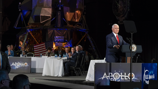 Vice President Mike Pence spoke at a meeting of the National Space Council, an advisory group to the president, on March 26, 2019, in Huntsville, Alabama.