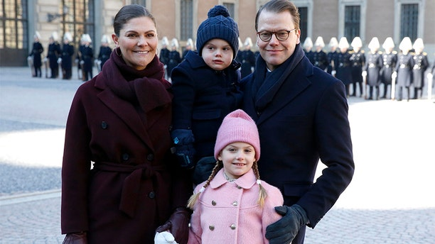 Crown Princess Victoria of Sweden, Prince Oscar of Sweden, Princess Estelle of Sweden and Prince Daniel of Sweden attend the Crown Princess' Name Day celebrations at the Stockholm Royal Palace.