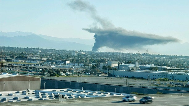 The fire can be seen from over a mile away.