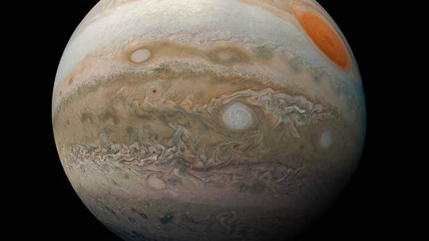 The image shows Jupiter's Great Red Spot and storms in the gas giant's southern hemisphere.