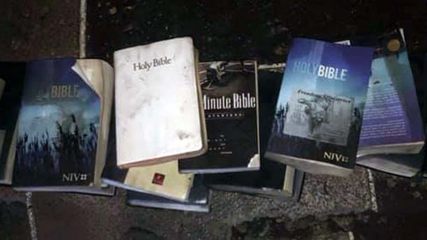 A West Virginia church went up in a blaze early Sunday morning, but the Bibles inside remained untouched by the flames.