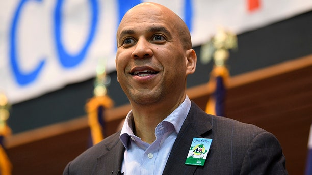 Democratic presidential candidate Sen. Cory Booker speaks during a town hall meeting in Rock Hill, S.C., on Saturday.