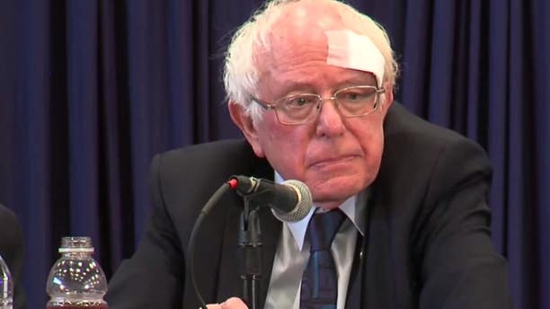 Sen. Bernie Sanders seen with a bandage while at a roundtable event in South Carolina on Friday, March 15, 2019.