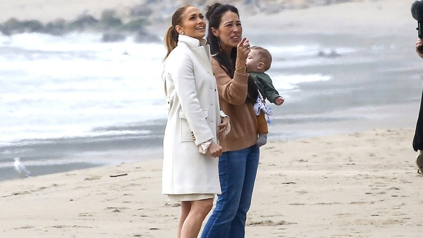 Jennifer Lopez, left, and Joanna Gaines are seen in Malibu checking out the singer's new oceanside home. Lopez recently appeared on 'Ellen' where she fangirled over her obsession with the hit home improvement show 'Fixer Upper.'
