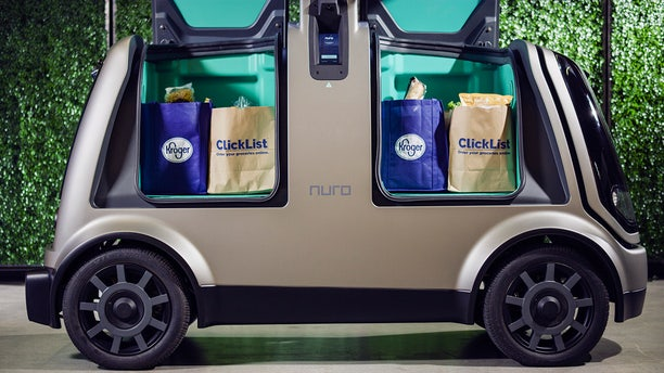 Close up of Nuro's self-driving vehicle