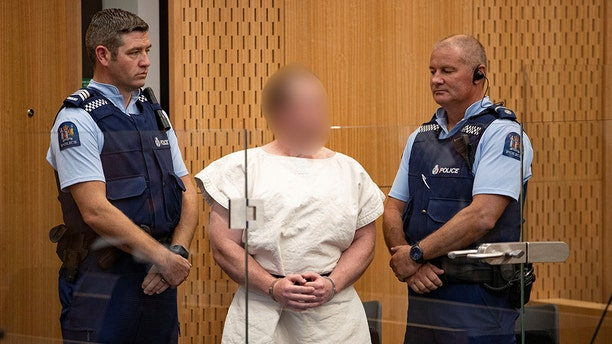 The mosque shooting suspect, charged for murder in relation to the mosque attacks, is seen in the dock during his appearance in the Christchurch District Court, New Zealand.