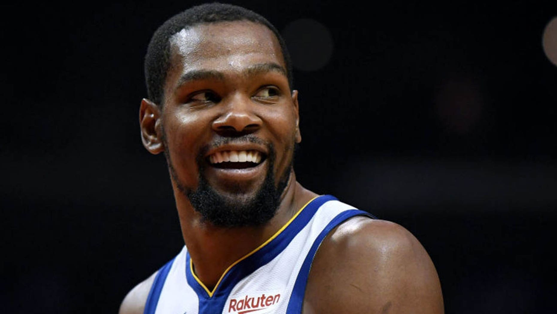 Kevin Durant #35 of the Golden State Warriors smiles at his bench in a 129-110 win over the LA Clippers during Game Six of Round One of the 2019 NBA Playoffs at Staples Center on April 26, 2019 in Los Angeles, California. (Photo by Harry How/Getty Images)
