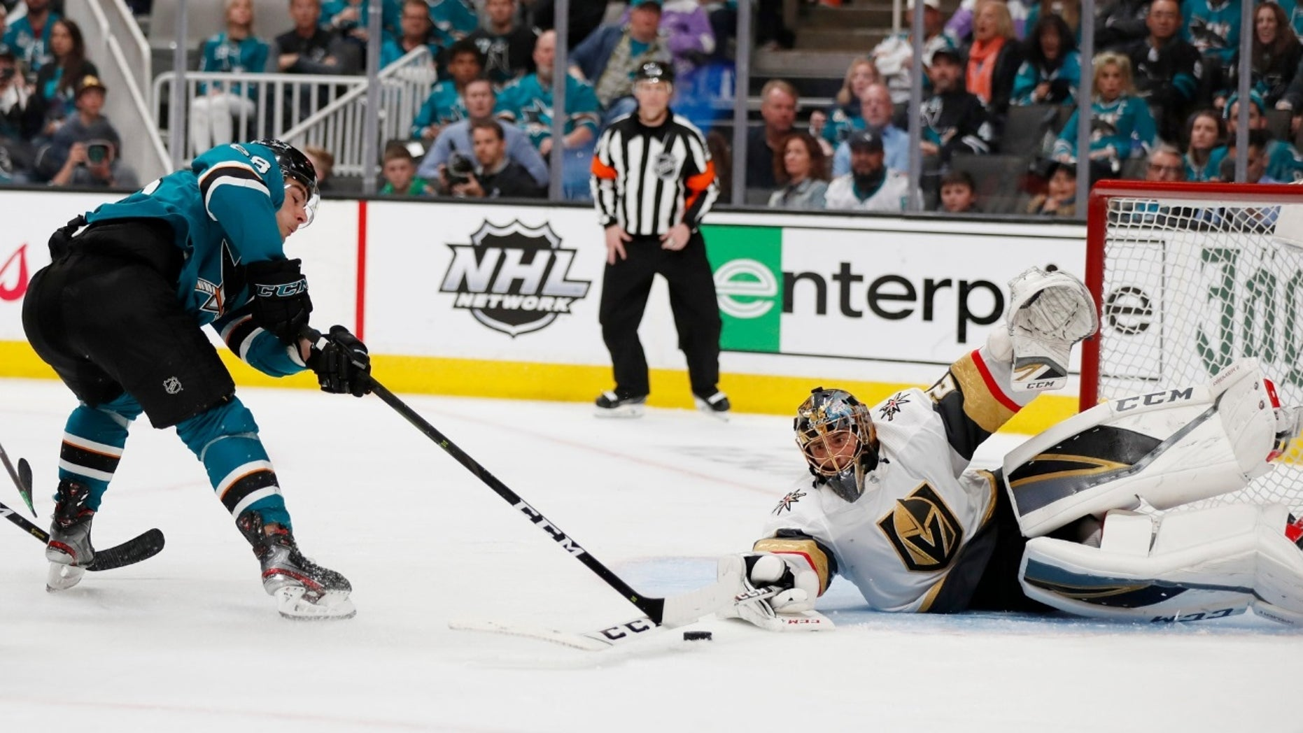 San Jose Sharks' Timo Meier, left, shots against Vegas Golden Knights goaltender Marc-Andre Fleury (29) during the third period of Game 2 of an NHL hockey first-round playoff series Friday, April 12, 2019, in San Jose, Calif.