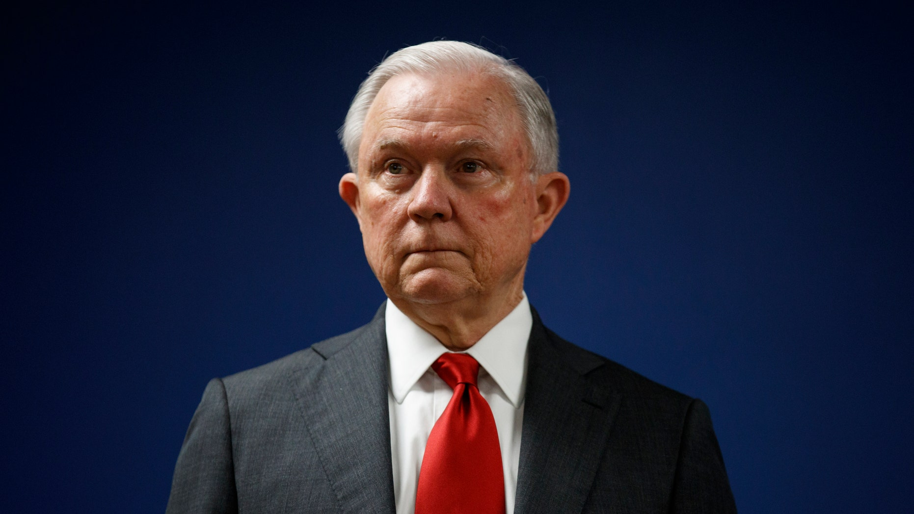In this Oct. 15, 2018, Attorney General Jeff Sessions pauses during a news conference at the U.S. Attorney's Office for the District of Columbia. (AP Photo/Carolyn Kaster, File)