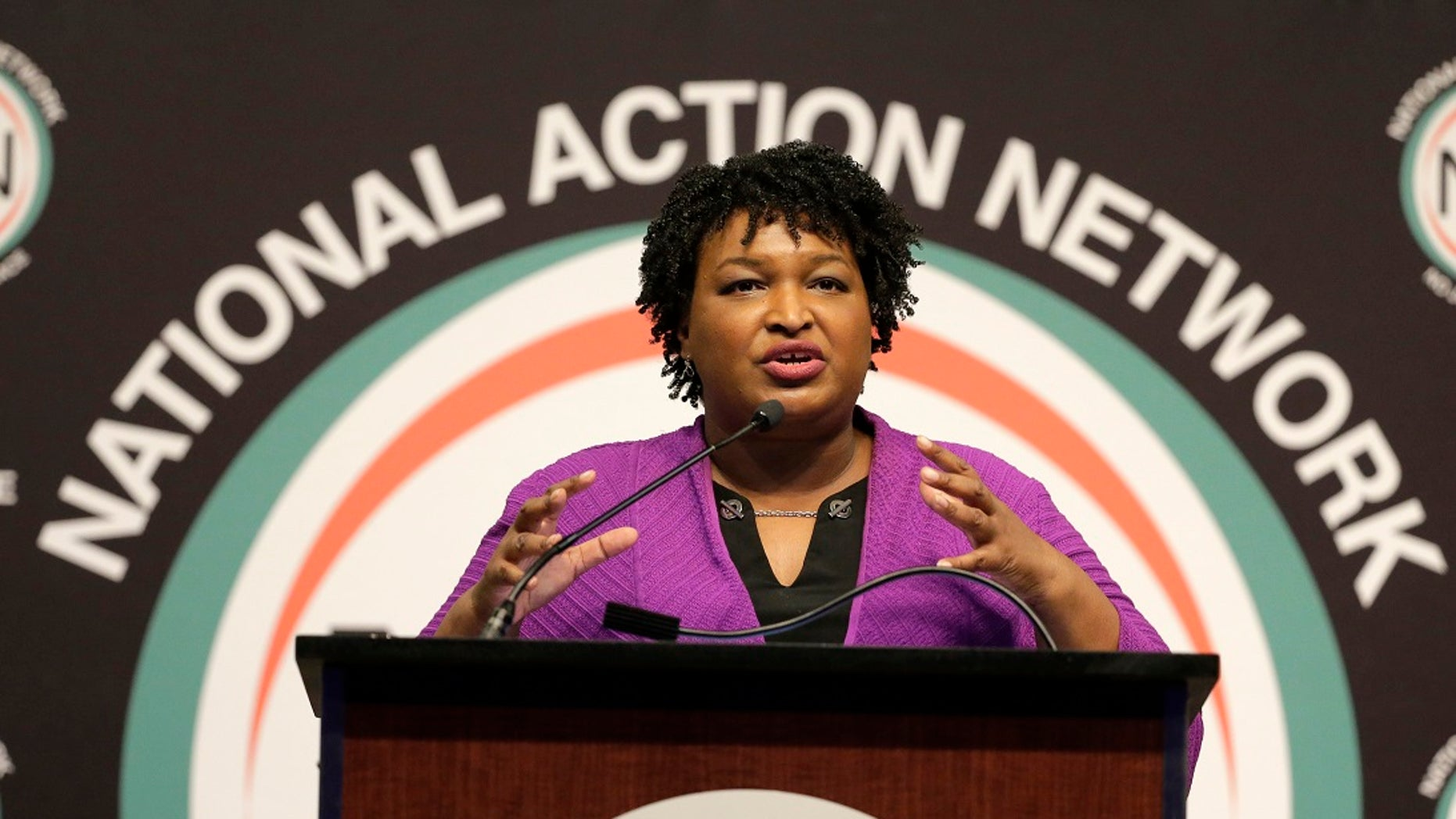 "Former Georgia's national candidate candidate Stacey Abrams speaks at the National Action Network Convention in New York City, April 3, 201<div class=""e3lan e3lan-in-post1""><script async src=""//pagead2.googlesyndication.com/pagead/js/adsbygoogle.js""></script>