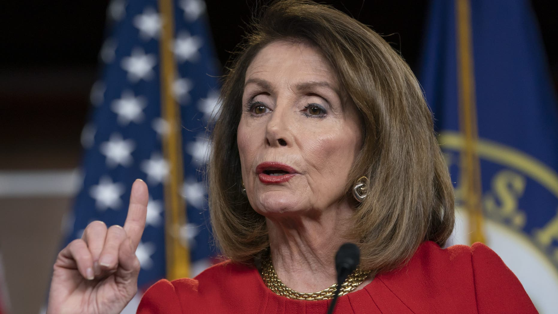 In this April 4, 2019 file photo, Speaker of the House Nancy Pelosi, D-Calif., speaks during a news conference on Capitol Hill in Washington. Pelosi and Senate Minority Leader Chuck Schumer are to meet with Trump at the White House on Tuesday. (AP Photo/J. Scott Applewhite)