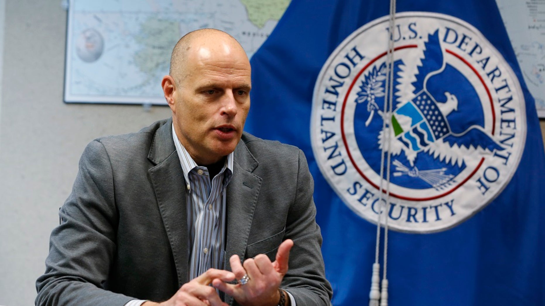 """Acting ICE director Ron Vitiello in Richmond, Virginia. Former DHS Secretary Kirstjen Nielsen issued a statement Wednesday announcing Vitiello's departure and thanked him for his """"unwavering"""" leadership. (AP Photo/Steve Helber, File)"""