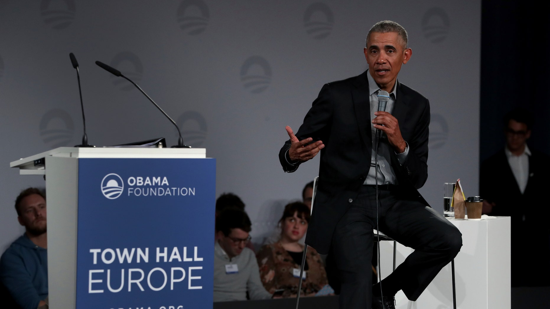 Former President Barack Obama gestures as he speaks during a town hall meeting at the European School For Management And Technology (ESMT) in Berlin, Germany, Saturday, April 6, 2019. (AP Photo/Michael Sohn)