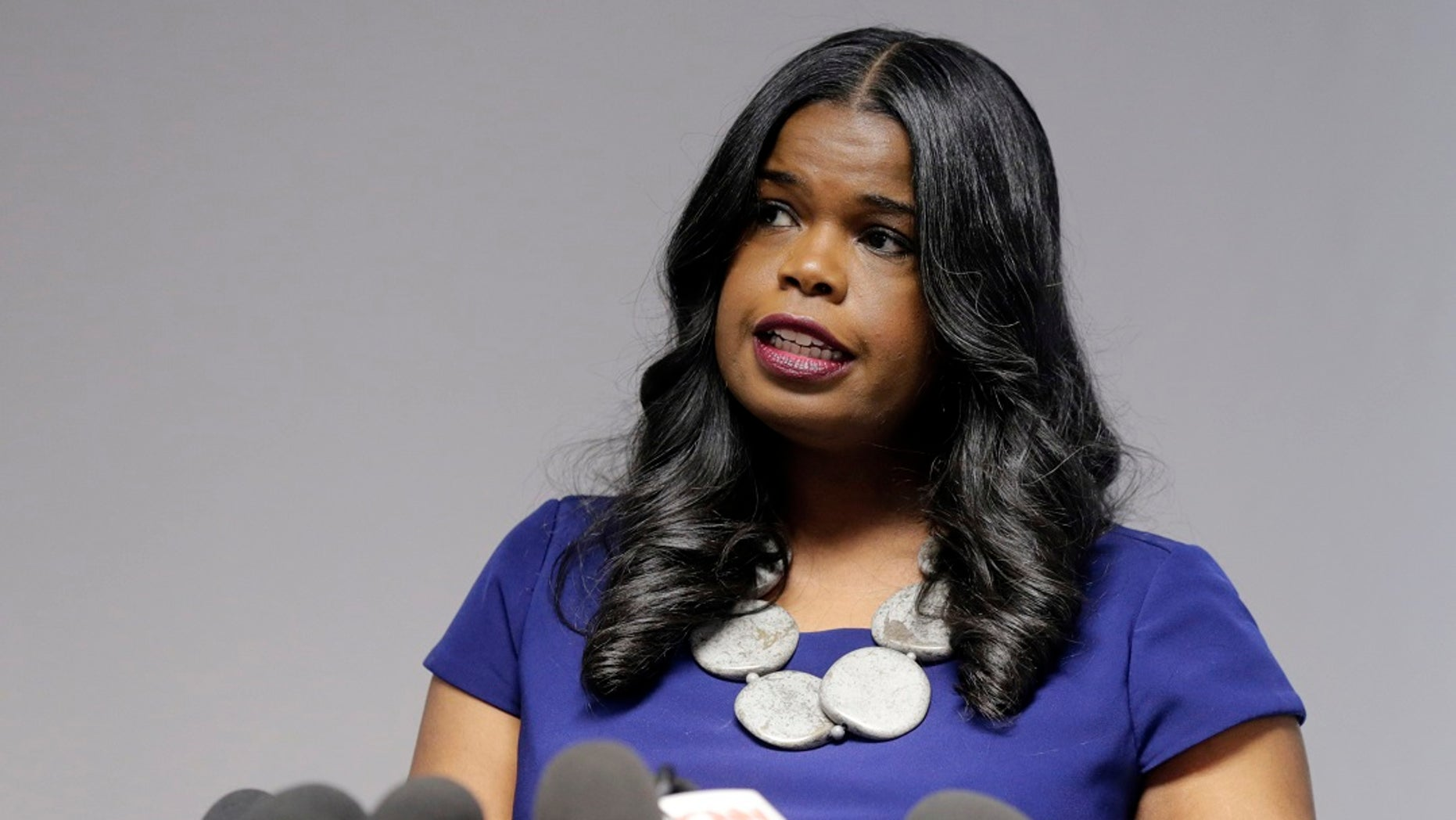 Cook County State Attorney Kim Foxx speaks at a news conference in Chicago. Foxx has joined the county's inspector general to review how her office handled