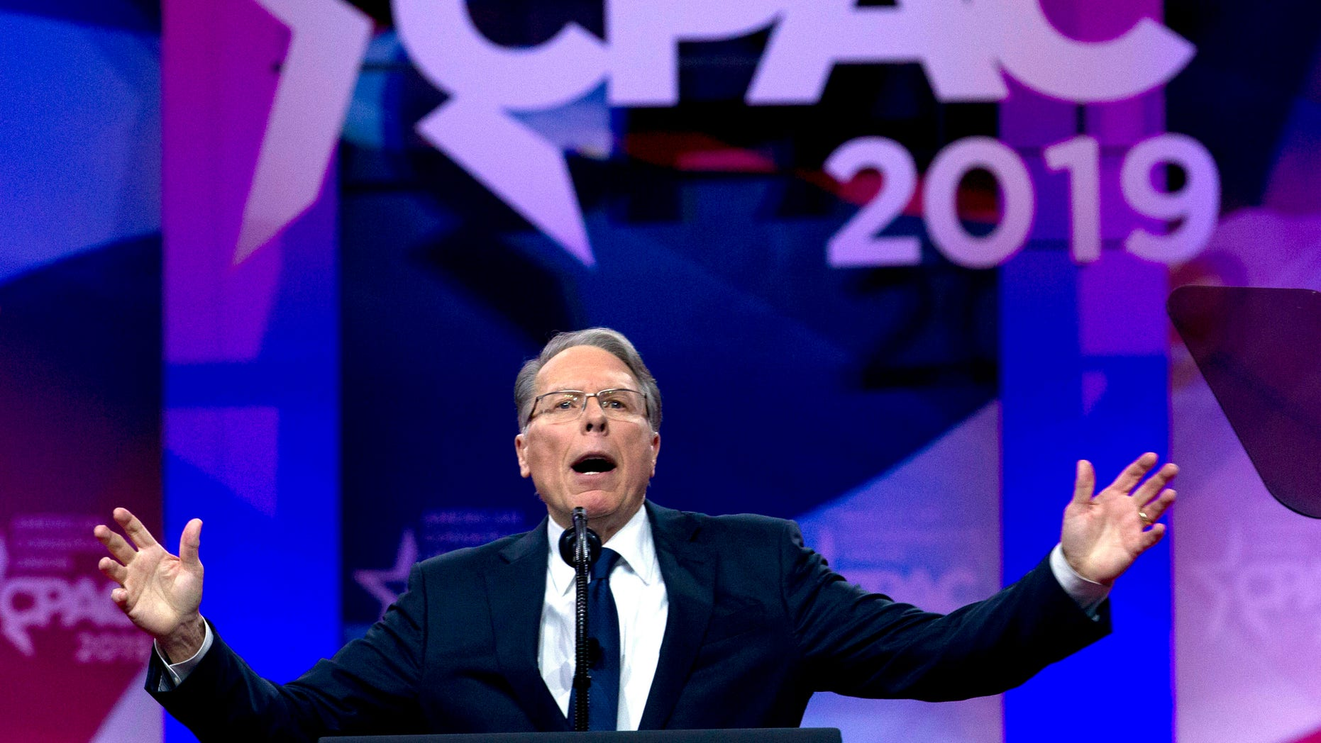 FILE--In this Mar 2, 2019, record photo, NRA executive clamp boss and CEO Wayne LaPierre speaks during Conservative Political Action Conference, CPAC 2019.