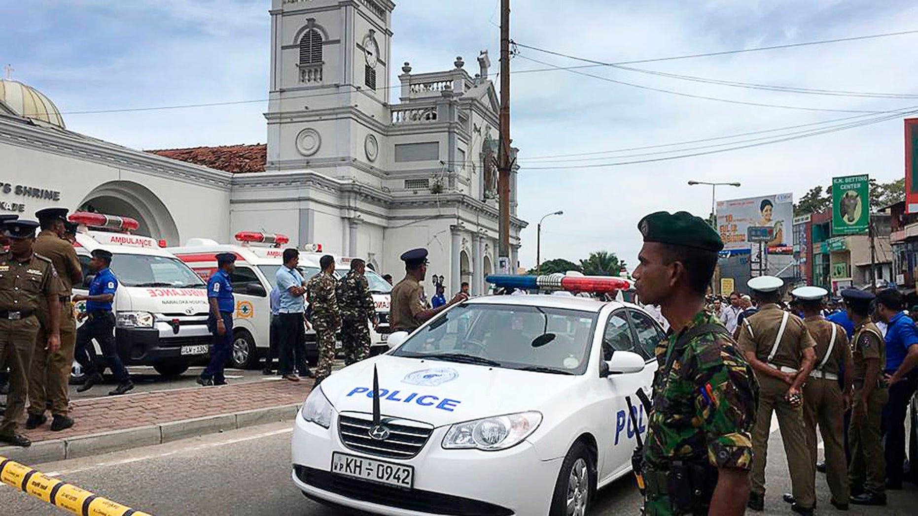 Sri Lankan Army soldiers secure the area around St. Anthony's Shrine after a blast in Colombo, Sri Lanka, Sunday, April 21, 2019. (Associated Press)
