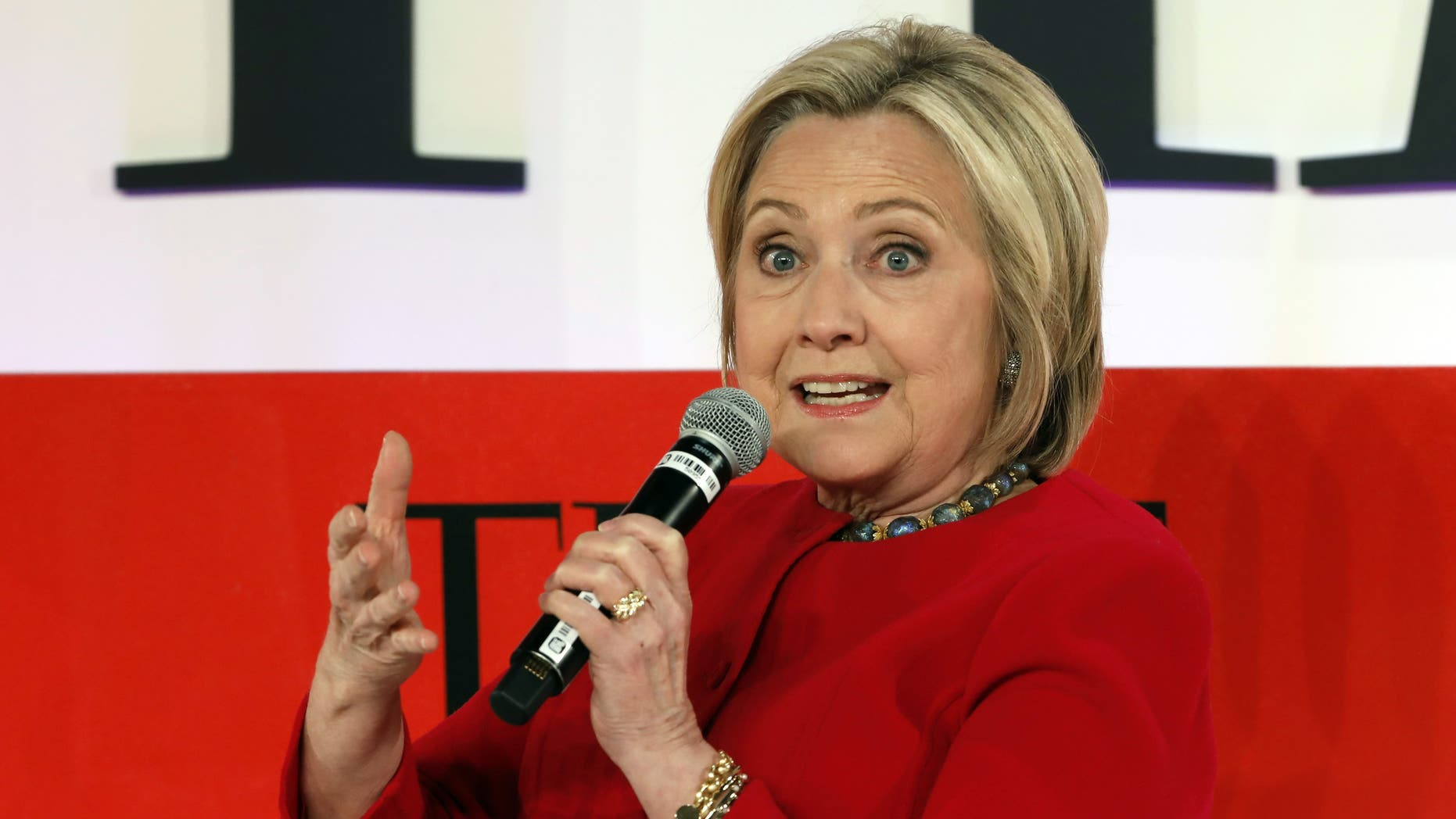 Hillary Clinton speaks during the TIME 100 Summit, in New York, Tuesday, April 23, 2019. (AP Photo/Richard Drew)
