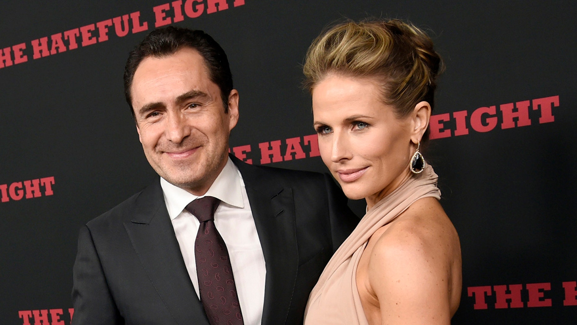 "This Dec. 7, 2015 file photo shows Demian Bichir, a cast member in ""The Hateful Eight,"" and his wife Stefanie Shirk at the premiere of the film in Los Angeles. Bichir announced the passing of his wife in a heartfelt message on Instagram."