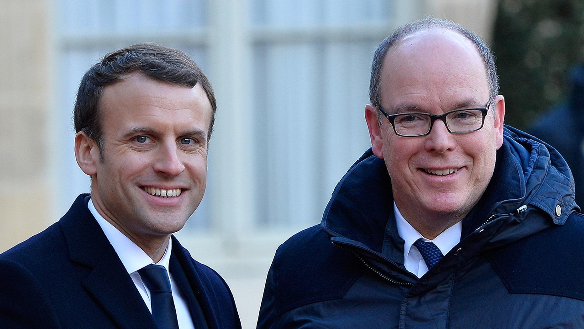 French President Emmanuel Macron and Prince Albert II of Monaco on Dec. 12, 2017 in Paris.