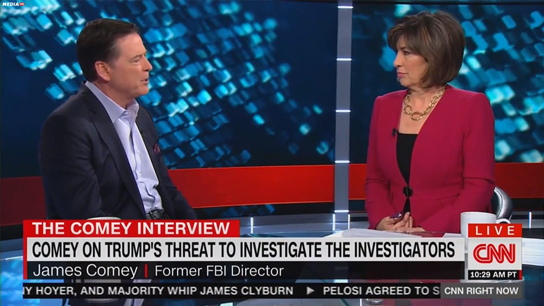"""During her interview with former FBI directorJames Comey, CNN'sChristiane Amanpourasked him if he had wished the FBI """"shut down"""" the """"hate speech"""" coming from then-candidateDonald Trump's rallies during the 2016 presidential election. (CNN)"""