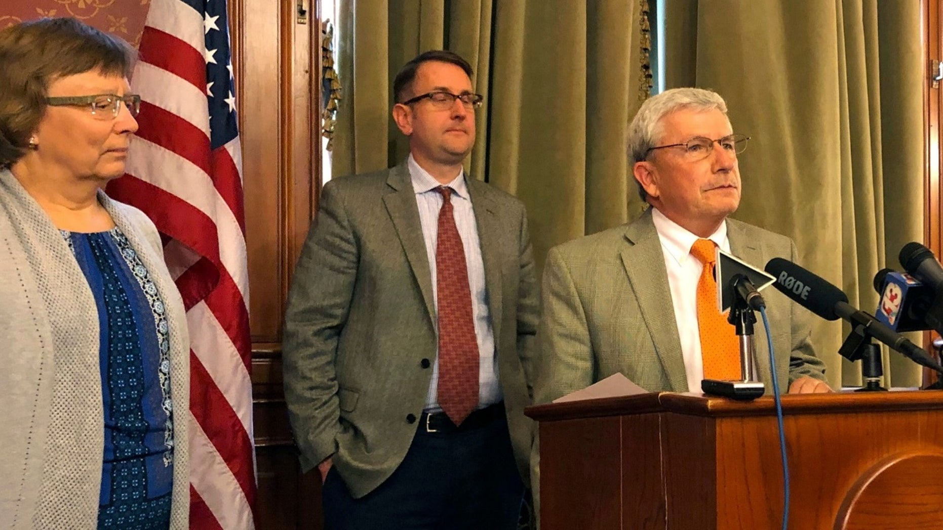 Rep. Andy McKean, right, the longest-serving Republican in the Iowa Legislature announced Tuesday that he's becoming a Democrat, saying he didn't want to remain in a party led by President Trump.
