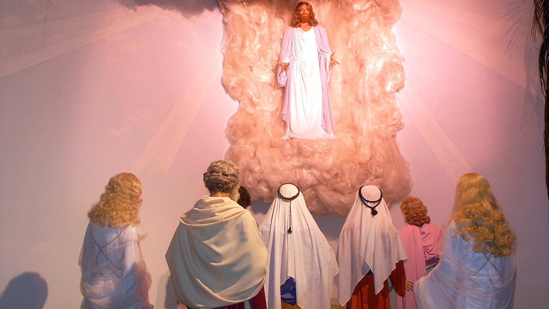 The ascension of Jesus Christ is portrayed at the BibleWalk wax museum in Mansfield, Ohio.